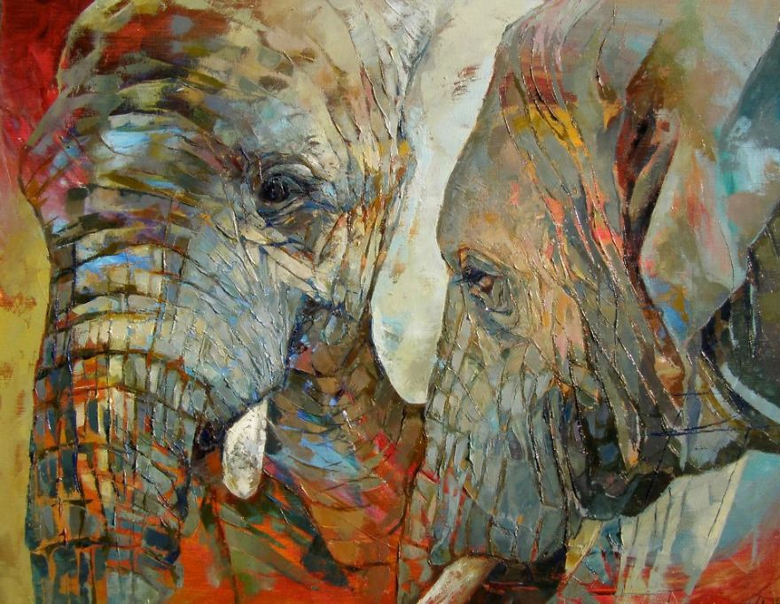 Paintings Of Elephants Faces