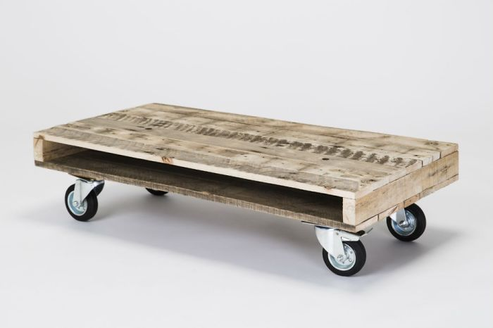 Recycled Wooden Pallet Rustic Coffee Table On Wheels