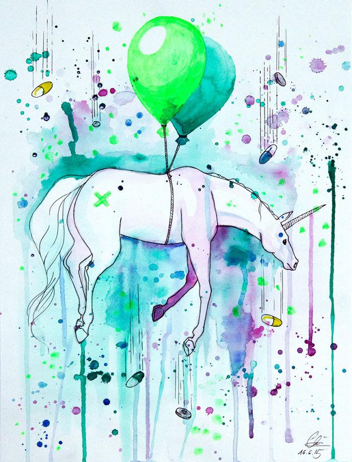 Drugcorn: My Colorful Illustration Of A Flying Unicorn