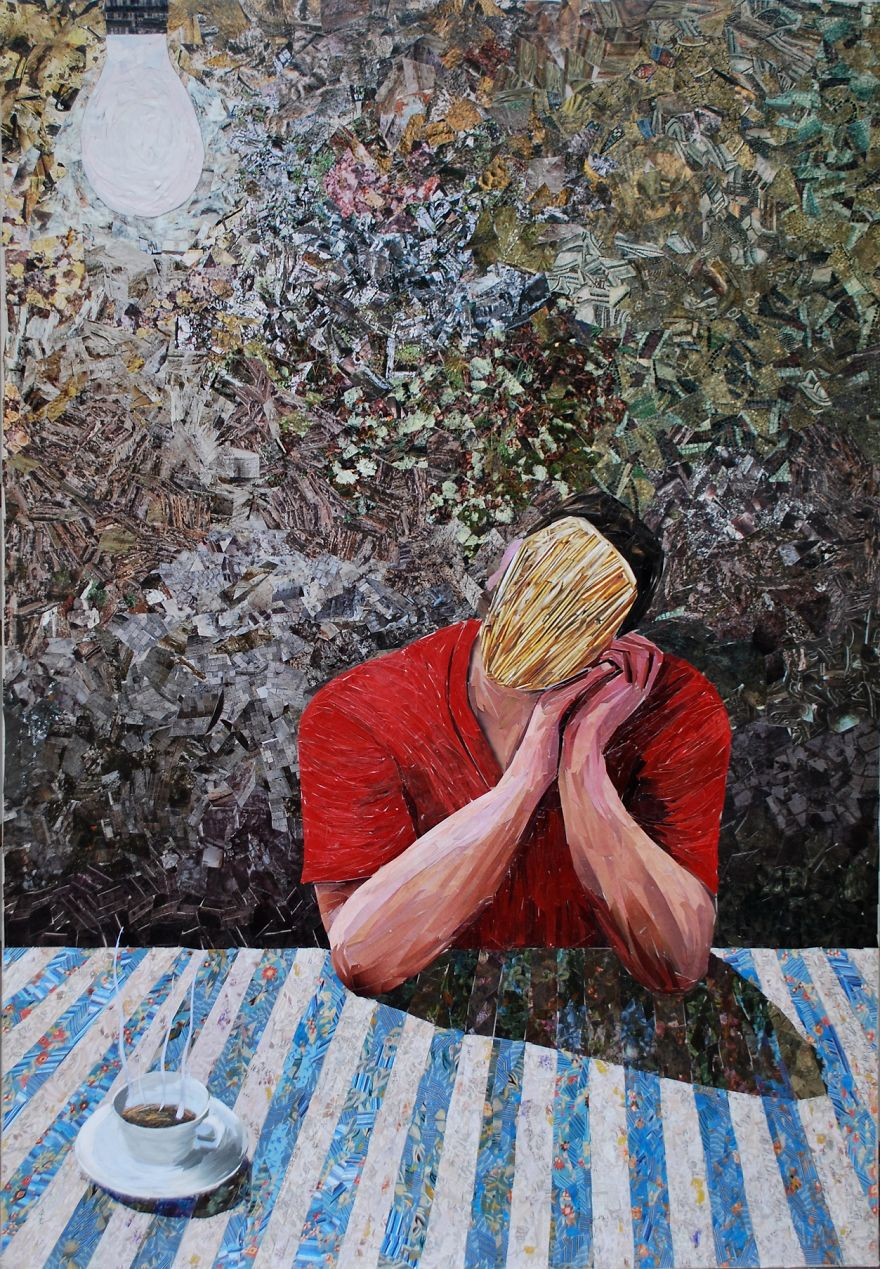 I Create Oil Painting Illusions With 1000s Pieces Of Paper