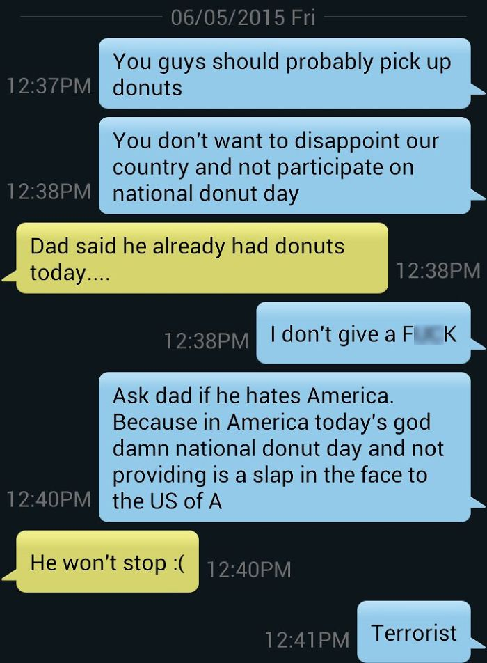 One Super Pissed Off Text About National Donut Day