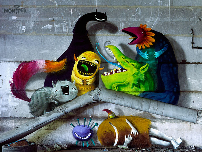Monzter: Artist Hides Monster Murals Inside Abandoned Buildings In Berlin