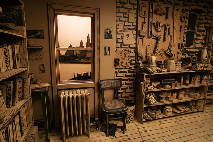 I Made A Full-Scale Artist's Studio Out Of Cardboard, Hot Glue And Black Paint