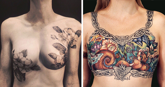 Tattoo artists cover breast cancer survivors scars with for Tattooed nipples after reconstruction