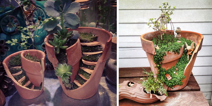 broken pots turned into brilliant diy fairy gardens. Black Bedroom Furniture Sets. Home Design Ideas