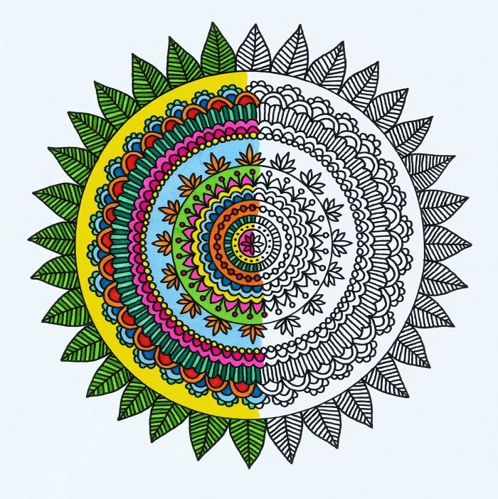 I Make Adult Mandala Coloring Pages Using Intricate Mehndi Designs