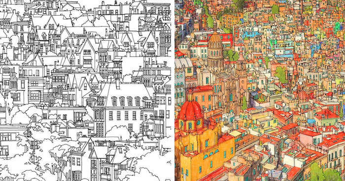 Highly Detailed Coloring Book For Adults Features Famous World