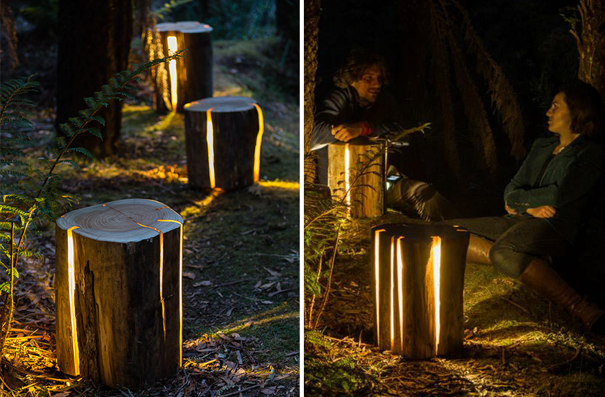 Legally Blind Artist Makes Cracked Log Lamps Bursting With