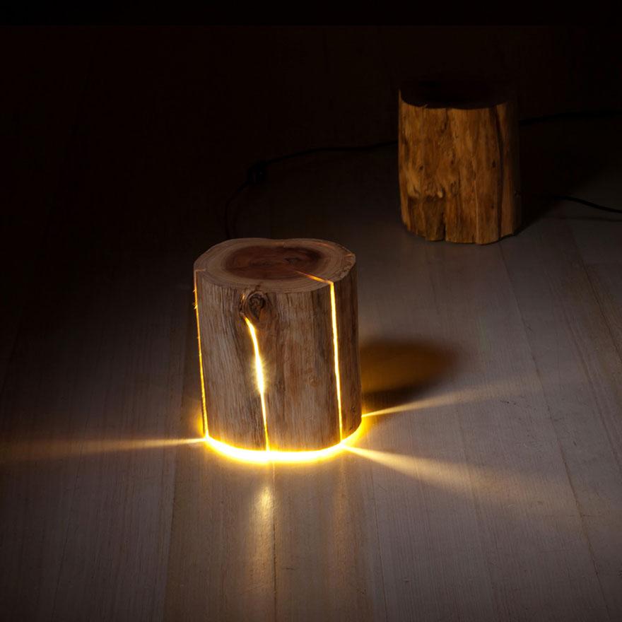 Light Warehouse Sydney: Legally Blind Artist Makes Cracked Log Lamps Bursting With