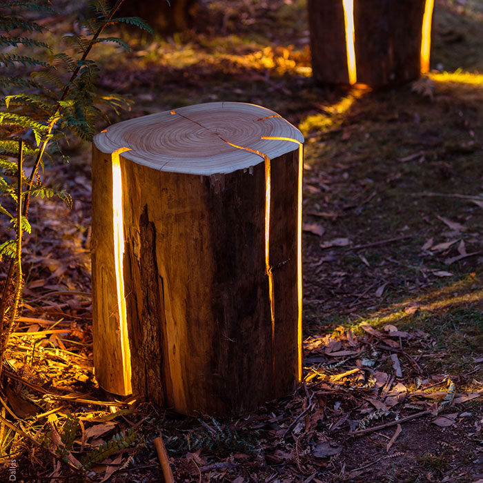 Legally Blind Artist Makes Cracked Log Lamps Bursting With Light