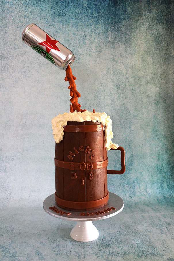 Gravity Defying Beer Can Cake
