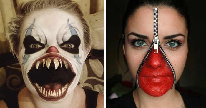 20 of the creepiest halloween makeup ideas bored panda - Maquillage halloween simple homme ...