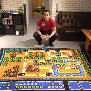 This Man Spent 6 Years Crocheting a Super Mario Bros Map Blanket