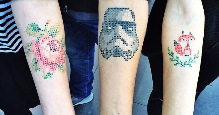 Cross Stitch Tattoos By Turkish Artist Eva Krbdk Bored Panda