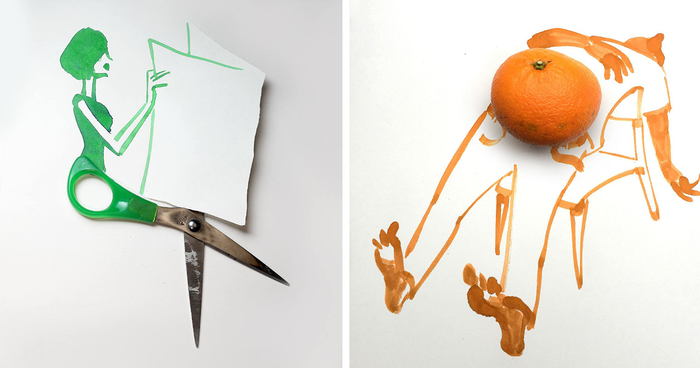 20 Creative Drawings Completed Using Everyday Objects By Christoph