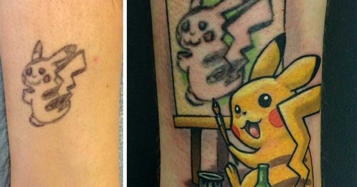 The Best Tattoo Cover Up Idea Ever Turns Pikachu Into Pikasso Bored Panda