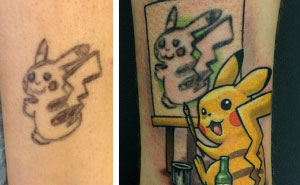The Best Tattoo Cover-Up Idea Ever Turns Pikachu Into Pikasso