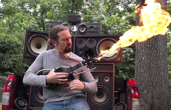 Guy Builds Flamethrower Ukulele Inspired By Guitar Used In 'Mad Max'