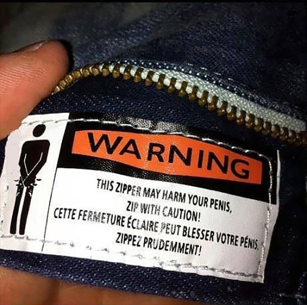Zipper Warning Label