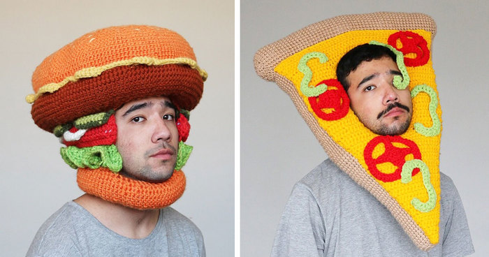 b6a934ccde5 This Guy Crochets Hilarious Food Hats And Wears Them Himself