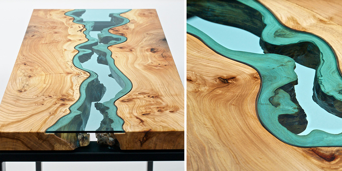 Glass Rivers And Lakes Flow Across Beautiful Tables By