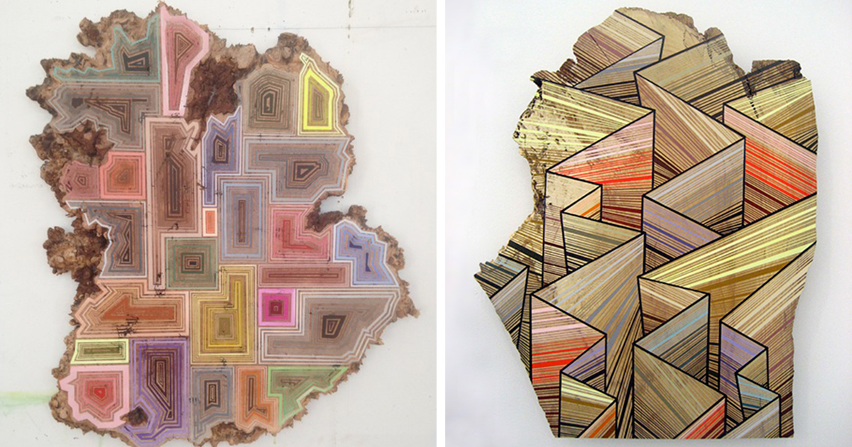 Artist Paints Geometric Art Along The Grain Of Discarded Tree Slices