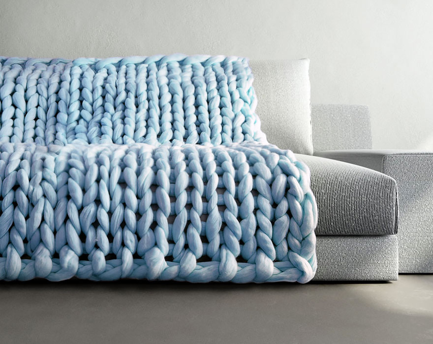 Knitting Wool Blanket : Extremely chunky knits by anna mo look like they re knit