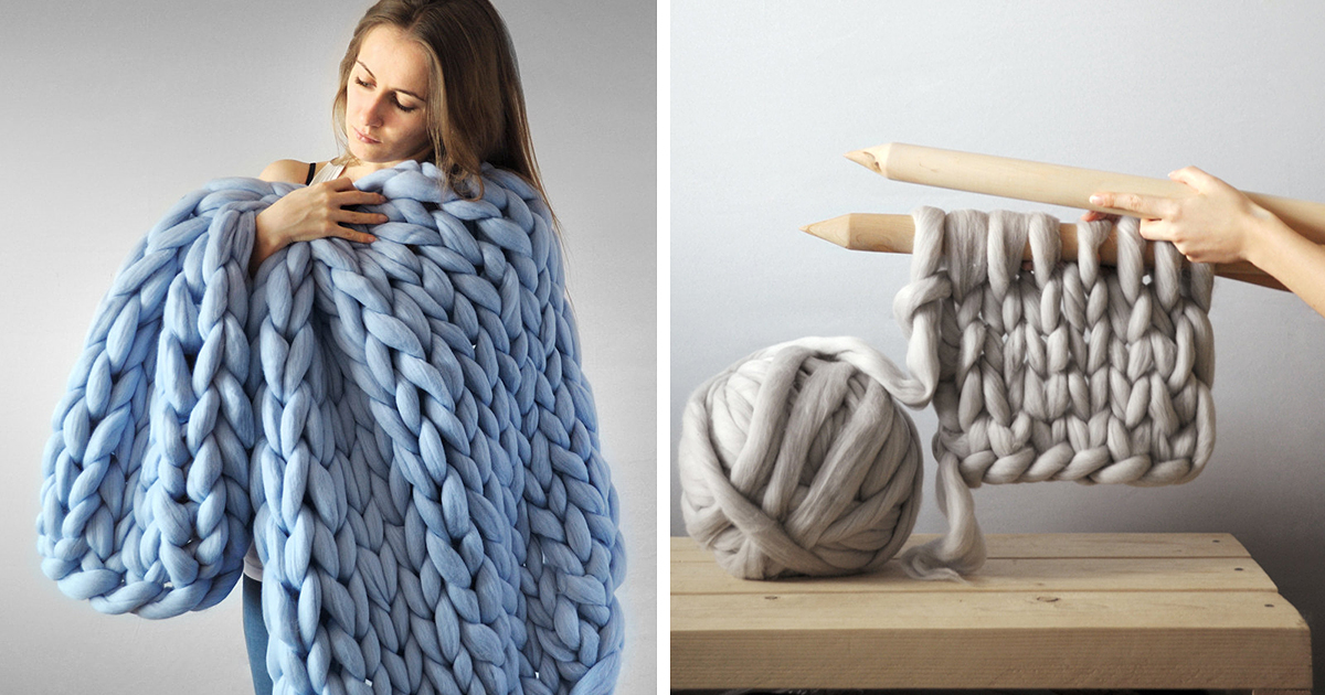Giant Knitting Blankets : Extremely chunky knits by anna mo look like they re knit
