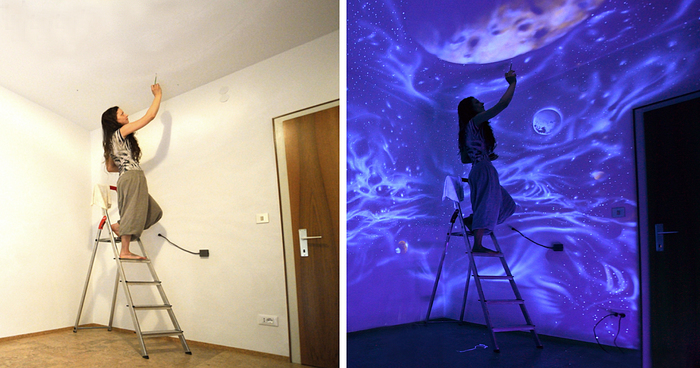 when the lights go out, my glowing murals turn these rooms into