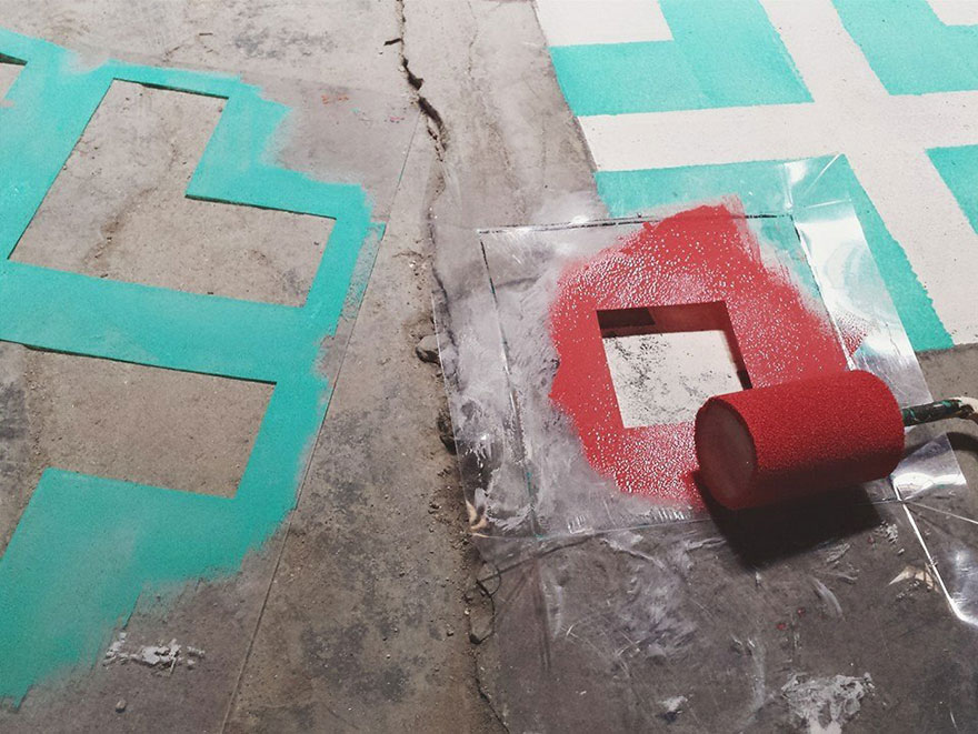 Artist Spray Paints Floors Of Abandoned