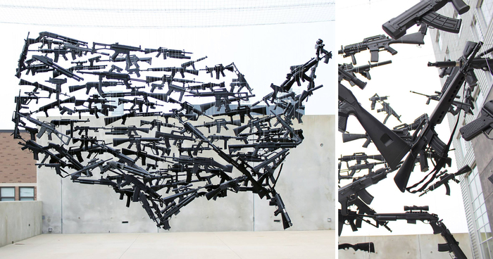 Gun Country: A Map Of The USA Consisting Of 150 Toy Guns