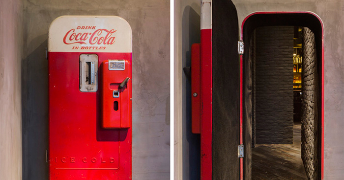 Theres A Hidden Bar Behind This Vintage Coke Vending Machine In