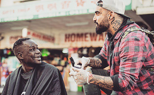 Badass Barber Gives Free Haircuts To Homeless While Battling His Own Addiction