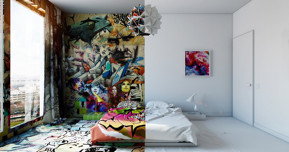 Half White, Half Graffiti: Designer Splits Hotel Room Into Two Worlds