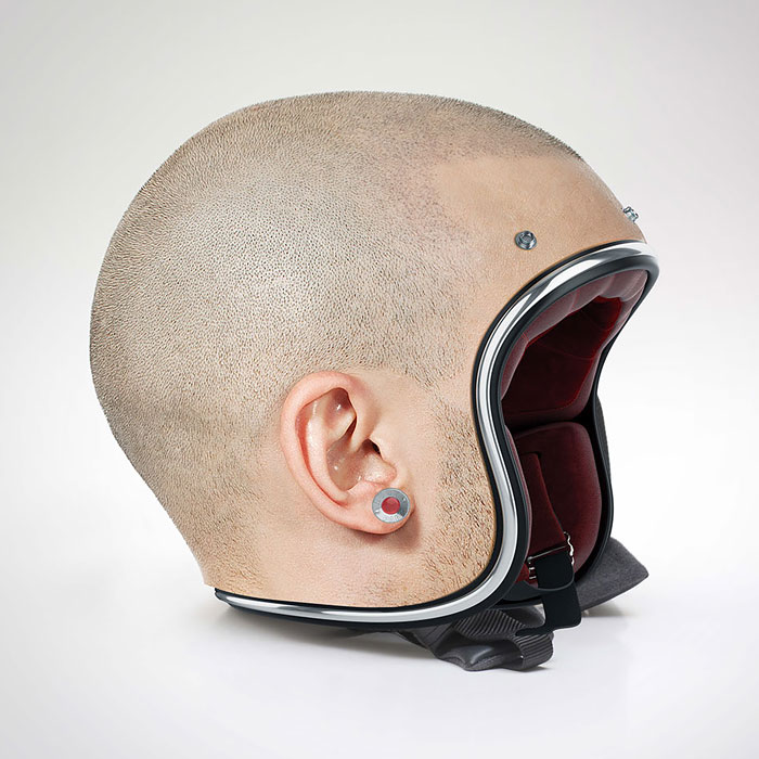 Creepy Human-Skin Helmets By Jyo John Mullor