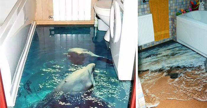 Epoxy Paintings In Bathrooms : D floors turn your bathroom into an ocean bored panda