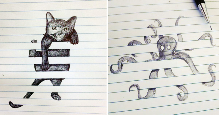 Creative doodles that don t stay within the lines bored for Fun to draw cat