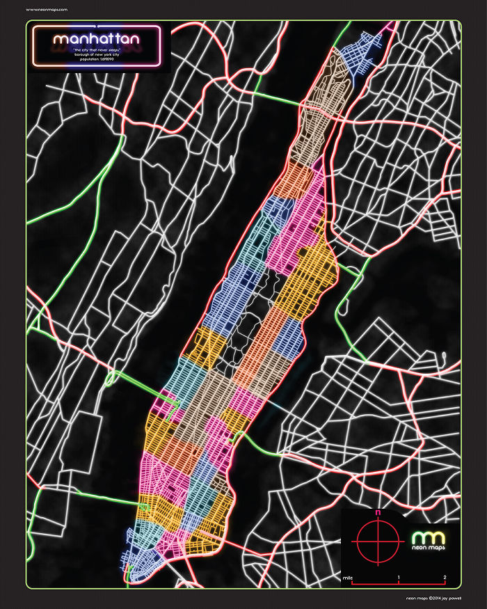6 Awesome City Maps In Neon Colors!