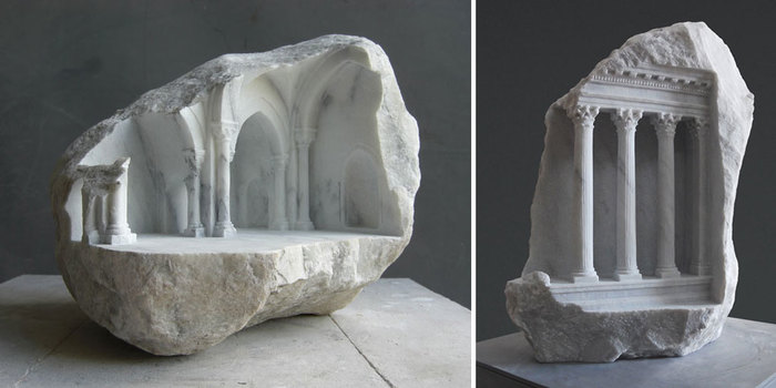 Classical interiors carved into marble and stone by