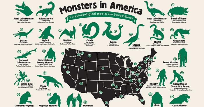 My Map Shows Where Legendary Monsters Hide In America | Bored Panda