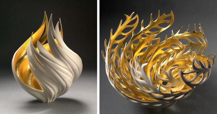 Nature Inspired Vases That Glow With An Inner Golden Fire