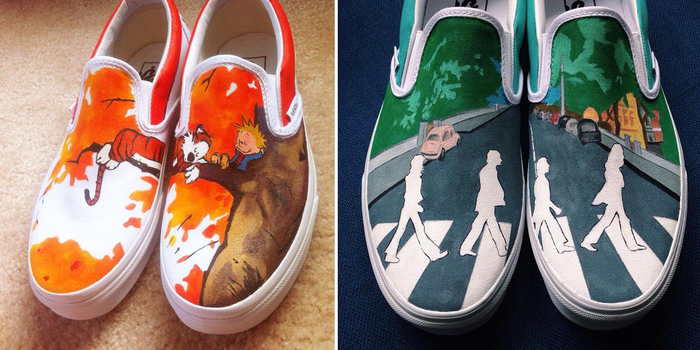 927ccfc9e05 Hand-Painted Shoes With Calvin And Hobbes