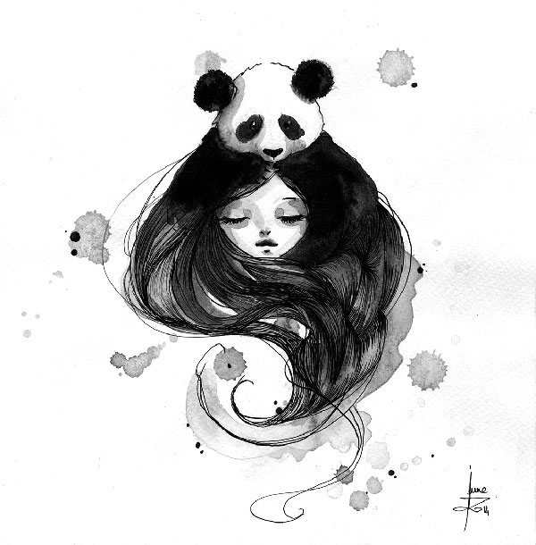 Panda & Maiden Ink Illustrations: I Never Used Ink Before And I Truly Enjoyed It