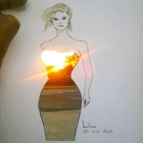 Fashion Illustrator Completes His Cut Out Dresses With