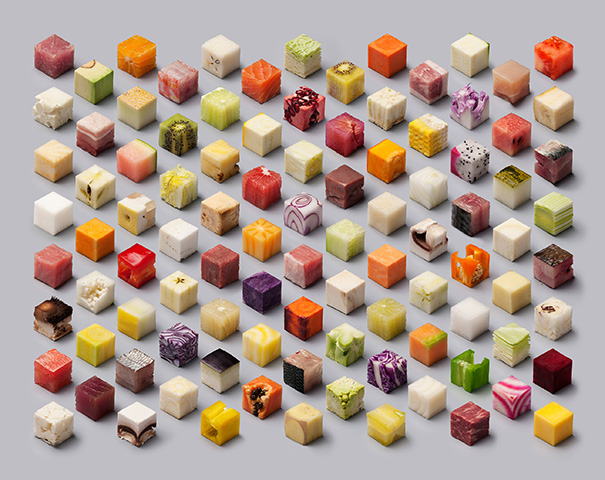 Raw Food Cut Into 98 Perfect Cubes