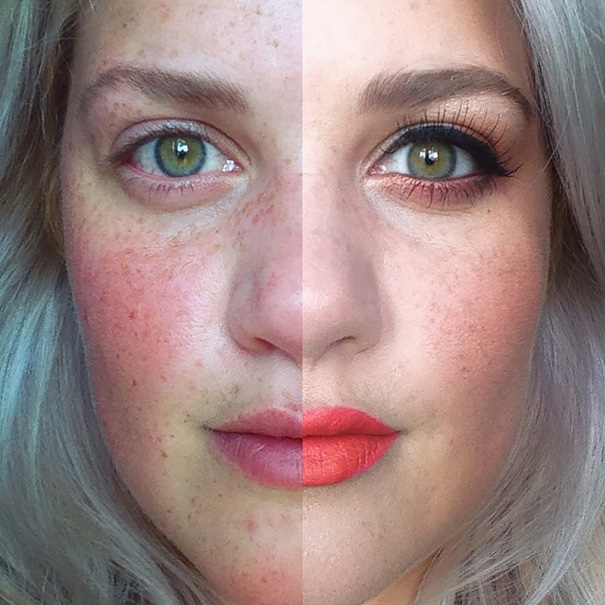 Women Post Selfies With Half Made Up Faces To Fight Makeup