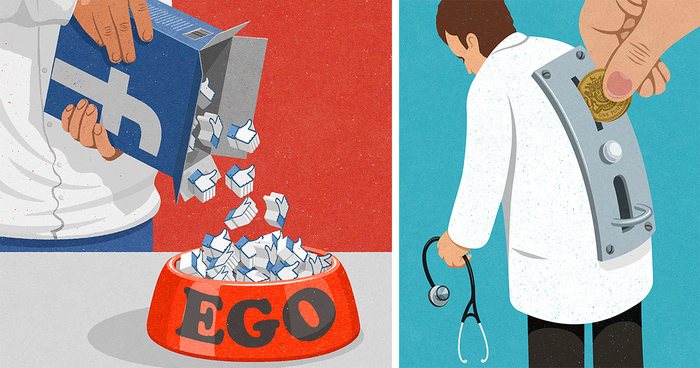 Satirical Illustrations Of Today S Problems Drawn In The Style Of