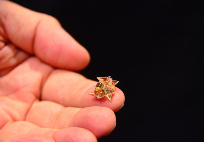 Mini Origami Robot That Self-Folds, Walks, Swims, Digs, Carries Loads, Climbs And Dissolves Into Nothing