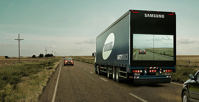 Samsung's 'Safety Truck' Shows The Road Ahead On Screen So Drivers Can Pass It