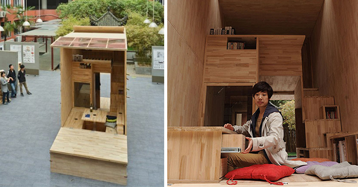 chinese students build wood house that occupies just 7 square meters bored panda - Wooden Tiny House Plans